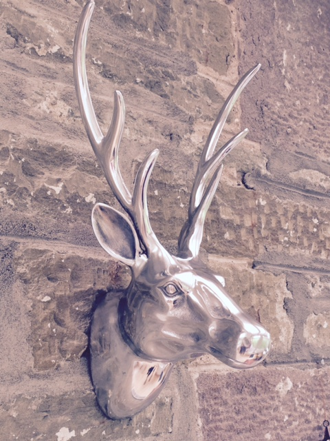 Stags Head Large Wall Mounted In Polished Aluminium