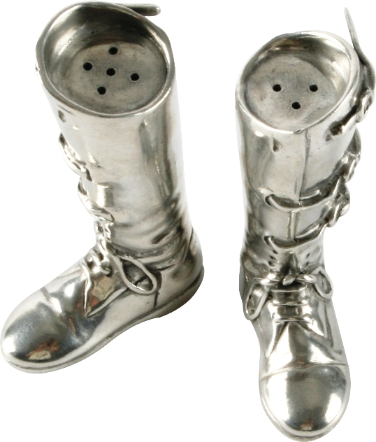 Riding Boots Salt & Pepper Set in Pewter by Vagabond House