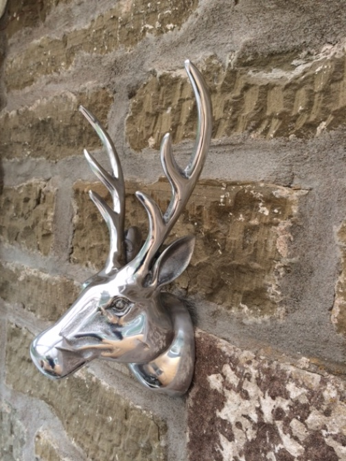 Silver stags head wall mounted in polished aluminium plaque deer metal art new ebay - Silver stag head wall mount ...